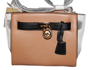 Michael Kors Leather Suntan/Walnut/Black Messenger Bag