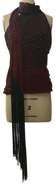 Item - Red and Black New 2007 Silk Polka Dot Fringed Scarf Halter Blouse Size 2 (XS)