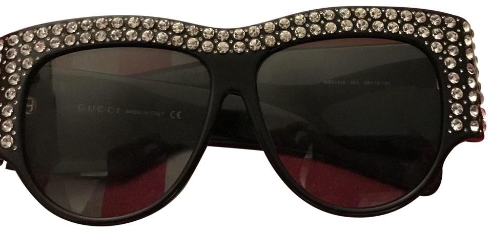 37f96abd338 Gucci C Gucci GG0147S - Black 001 crystal-embellished sunglasses Image 0 ...