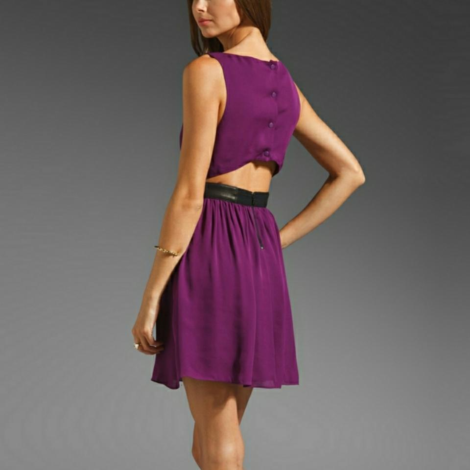 Alice + Olivia Purple Niel Leather Waist A-line In Plum Short Casual ...