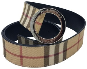 Burberry Tan, red multicolor coated canvas Burberry plaid print belt L