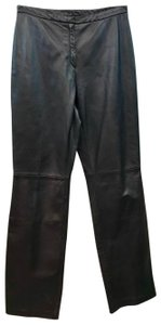 Brooks Brothers Leather Straight Pants Dark Brown