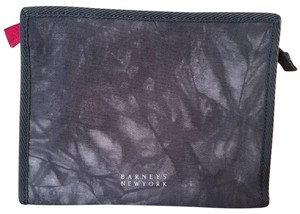 Barneys New York Barney's Blue & White Denim Cosmetics Makeup Bag Case Pouch Sac Clutch