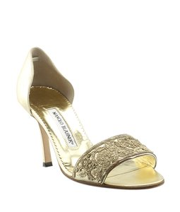 Manolo Blahnik Leather Heels Gold Sandals