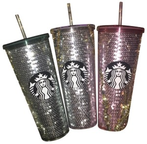 Starbucks Starbucks 2017 PINK + SILVER + GREEN Cold Cup Tumblers LOT of 3 Sequin Cups
