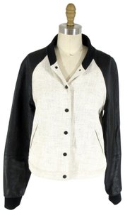 A.L.C. Leather Viscose Linen Ivory/ Black Jacket