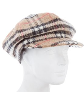 Burberry Beige, black, red Burberry London Nova check wool hat