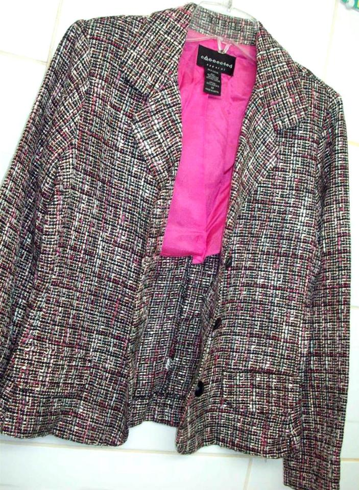 connected apparel pink grey and white plaid blazer coat. Black Bedroom Furniture Sets. Home Design Ideas