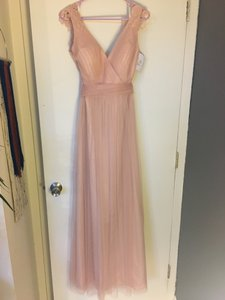 Watters Petal Pink/Blush Tulle Polyester; Polyester Lining 01602r Formal Bridesmaid/Mob Dress Size 6 (S)
