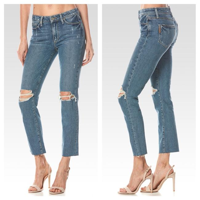 Item - Blue Distressed Jacqueline Straight - High Rise Crop Raw Hem In Beachwood Destructed Capri/Cropped Jeans Size 27 (4, S)
