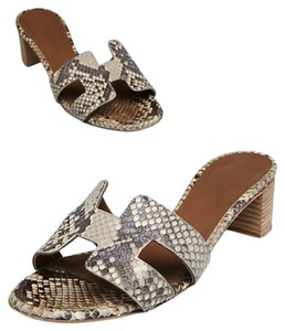 Herms Python Brown Oasis Sandals