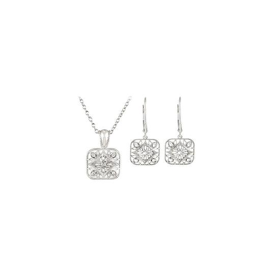 Preload https://img-static.tradesy.com/item/22459670/white-silver-sterling-diamond-and-lever-back-earrings-sets-010-ct-necklace-0-0-540-540.jpg