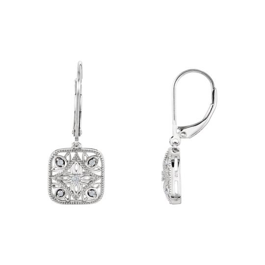 Veronica V. Sterling Silver Diamond Necklace and Lever Back Earrings Sets 0.10 CT