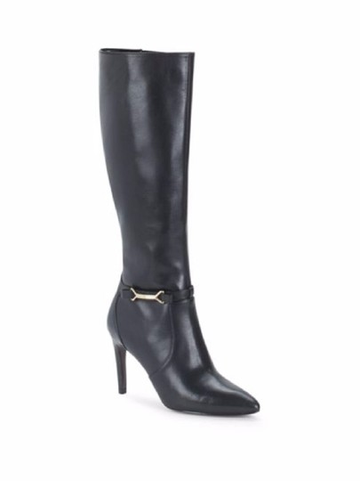 Cole Haan Leather Knee High Pointed Black Boots