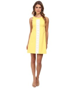 Lilly Pulitzer short dress yellow and white Daytime Date Night Sleeveless Sundress on Tradesy