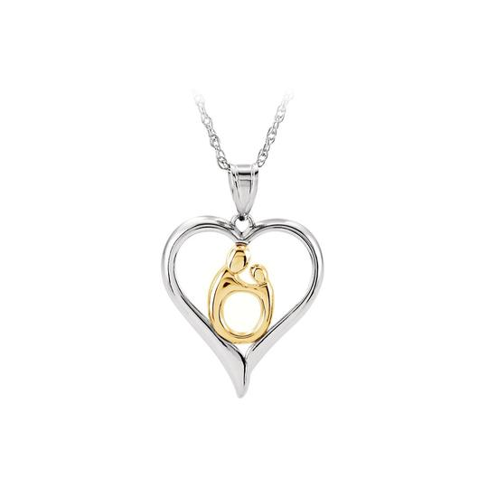 Preload https://img-static.tradesy.com/item/22459698/white-two-tone-mother-and-child-heart-pendant-in-925-silver-necklace-0-0-540-540.jpg