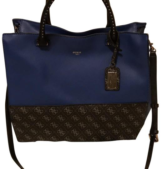 Preload https://img-static.tradesy.com/item/22459711/guess-multicolor-dark-blue-with-black-logo-leather-tote-0-1-540-540.jpg
