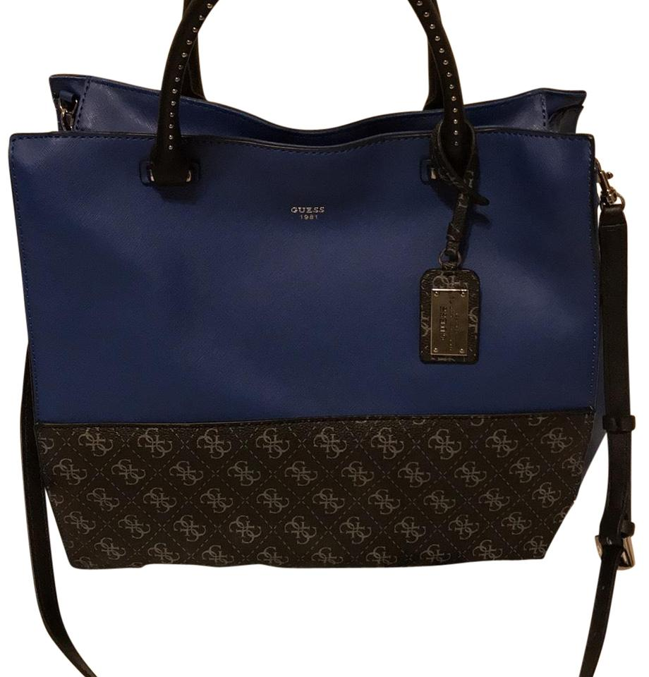 Guess multicolor dark blue with black logo leather tote tradesy jpg 920x960  Guess leather tote bags 48f8f6125c178