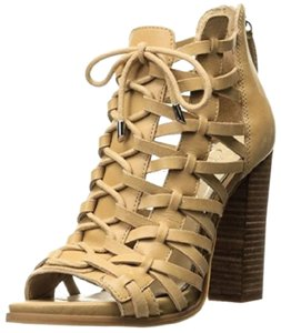 Jessica Simpson Braided Leather Beige Bootie Open Toe Tan Sandals