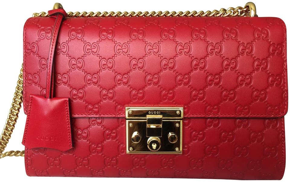 24dd73be99b277 Padlock Medium Gucci Signature Shoulder Bag Red | Stanford Center ...