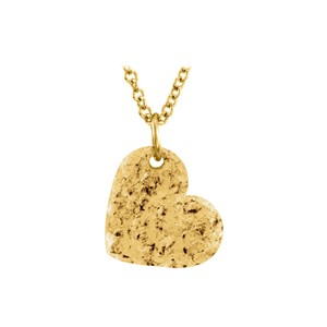 Marco B Hand Crafted Hammered Heart Pendant in Gold Vermeil