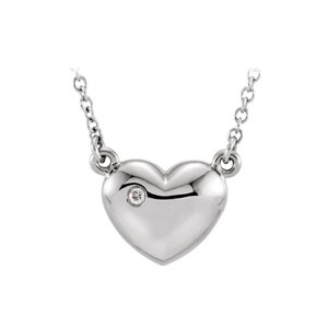 Marco B 925 Sterling Silver Cubic Zirconia Puffed Heart Pendant