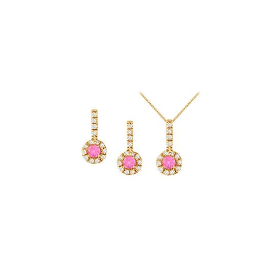 Preload https://img-static.tradesy.com/item/22460053/white-yellow-pink-sapphire-with-cz-earrings-and-pendant-in-18k-gold-vermeil-necklace-0-0-540-540.jpg