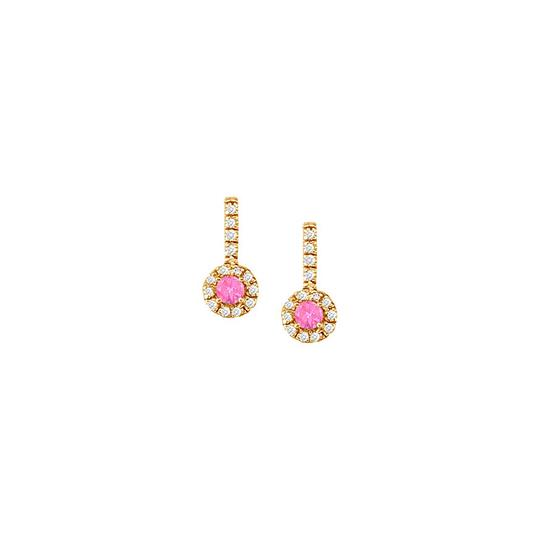 Veronica V. Pink Sapphire with CZ Earrings and Pendant in 18K Yellow Gold Vermeil