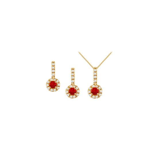 Preload https://img-static.tradesy.com/item/22460060/white-yellow-red-ruby-with-cz-halo-earrings-and-pendant-in-18k-gold-vermeil-necklace-0-0-540-540.jpg