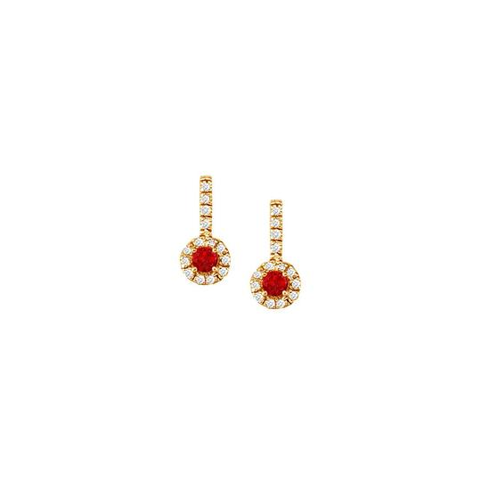 Veronica V. Ruby with CZ Halo Earrings and Pendant in 18K Yellow Gold Vermeil