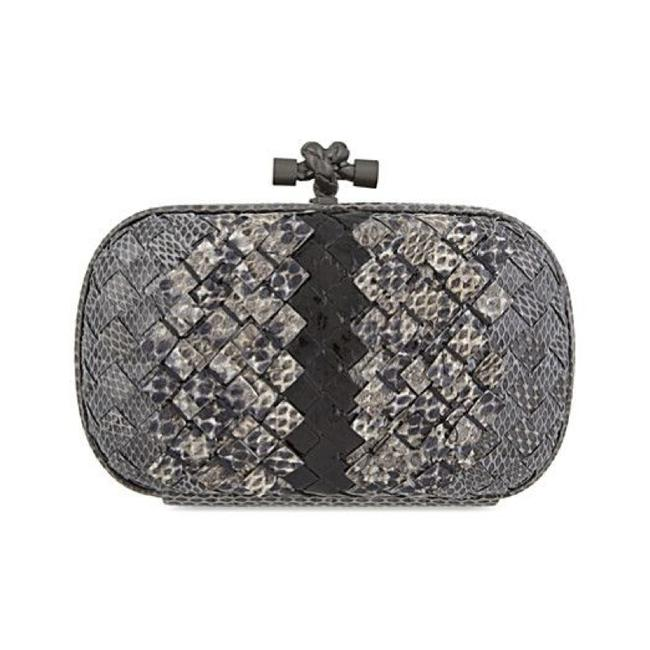 Bottega Veneta Ayers Knot Woven New Light Grey Ardoise Snakeskin Leather Clutch Image 1