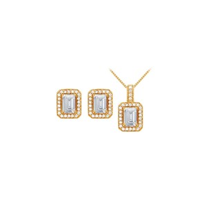 Veronica V. CZ Halo Earrings and Pendant Set, Sterling Silver