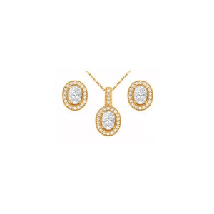 Veronica V. April Birthstone Oval CZ Earrings and Pendant 18K Yellow Gold Vermeil