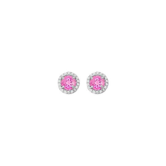 Veronica V. September Birthstone Pink Sapphire with CZ Halo Earrings and Pendant
