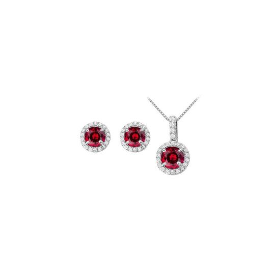 Preload https://img-static.tradesy.com/item/22460168/white-silver-red-july-birthstone-ruby-with-cz-halo-earrings-and-pendant-in-necklace-0-0-540-540.jpg