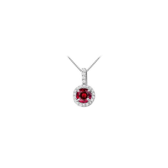 Veronica V. July Birthstone Ruby with CZ Halo Earrings and Pendant in Silver
