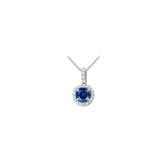 Veronica V. September Birthstone Sapphire with CZ Halo Earrings and Pendant Silver
