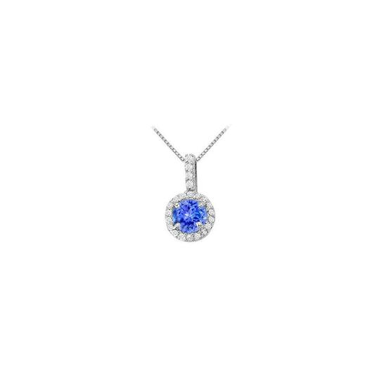 Veronica V. December Birthstone Tanzanite with CZ Halo Earrings and Pendant Silver