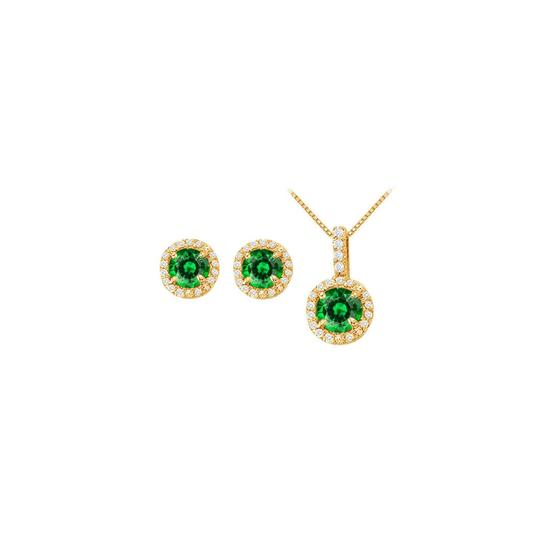 Preload https://img-static.tradesy.com/item/22460212/white-yellow-green-may-birthstone-emerald-and-cz-halo-earrings-and-pendant-necklace-0-0-540-540.jpg