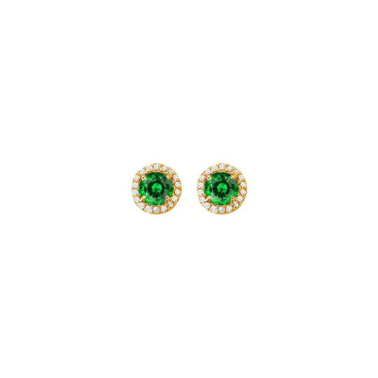 Veronica V. May Birthstone Emerald and CZ Halo Earrings and Pendant