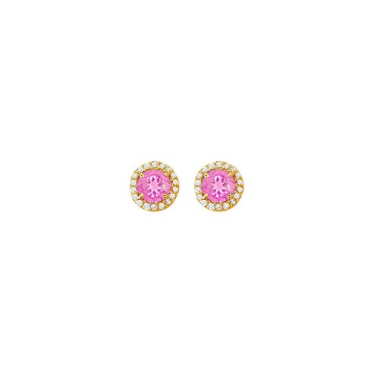 Veronica V. Created Pink Sapphire with CZ Halo Earrings and Pendant