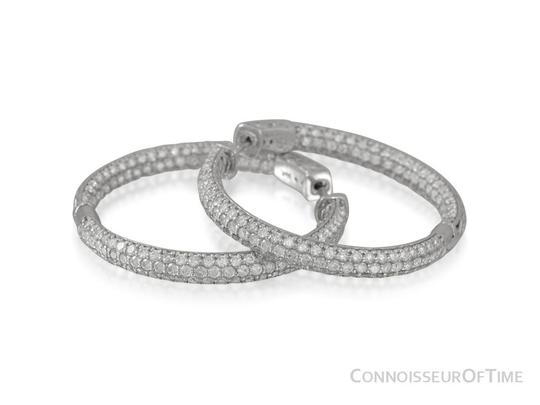 Preload https://img-static.tradesy.com/item/22460352/silver-14k-white-gold-diamond-eternity-large-hoop-38-ct-diamonds-earrings-0-1-540-540.jpg