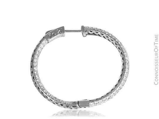 Silver 14k White Gold Diamond Eternity Large Hoop 3.8 Ct. Diamonds Earrings