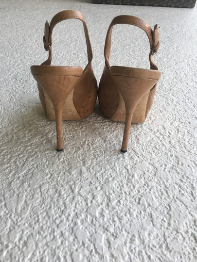 Gucci Ostrich Slingback Peep Toe Limited Edition Camel Pumps