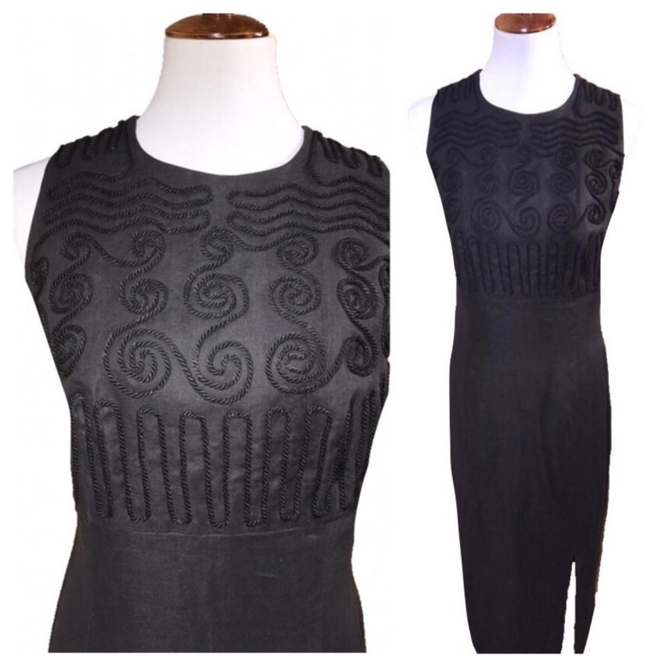 Maggy London Black Embroidered Maxi Long Cocktail Dress Size 14 (L ...