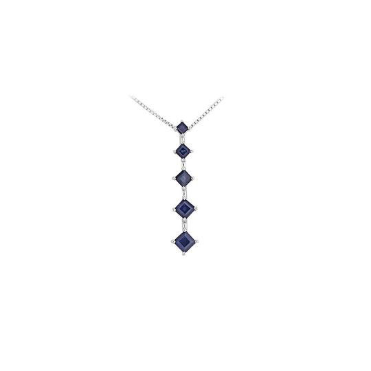 Preload https://img-static.tradesy.com/item/22460540/blue-silver-created-sapphire-journey-pendant-925-sterling-150-ct-tgw-necklace-0-0-540-540.jpg