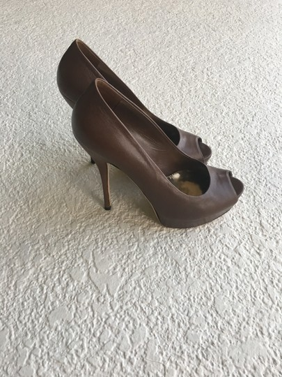 Gucci Leather Peep Brown Pumps