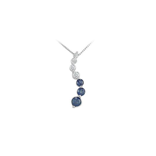 Preload https://img-static.tradesy.com/item/22460581/blue-silver-created-sapphire-and-cubic-zirconia-journey-pendant-925-sterling-necklace-0-0-540-540.jpg