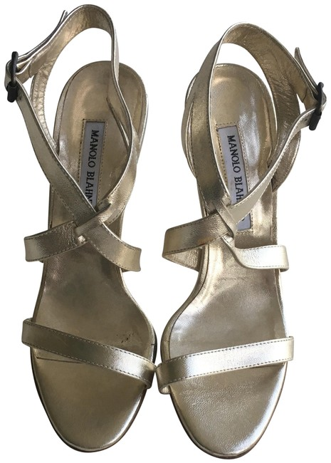 Item - Gold Strappy Pumps Sandals Size US 8 Narrow (Aa, N)