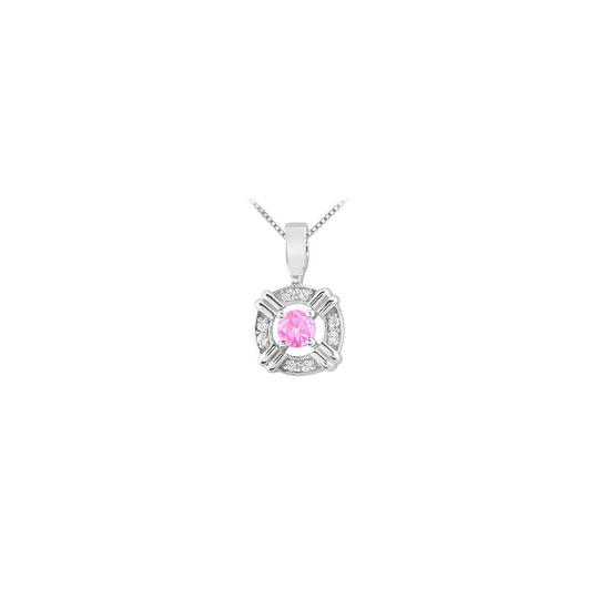 Preload https://img-static.tradesy.com/item/22460621/pink-silver-created-sapphire-with-cubic-zirconia-circle-pendant-in-rhodium-tr-necklace-0-0-540-540.jpg